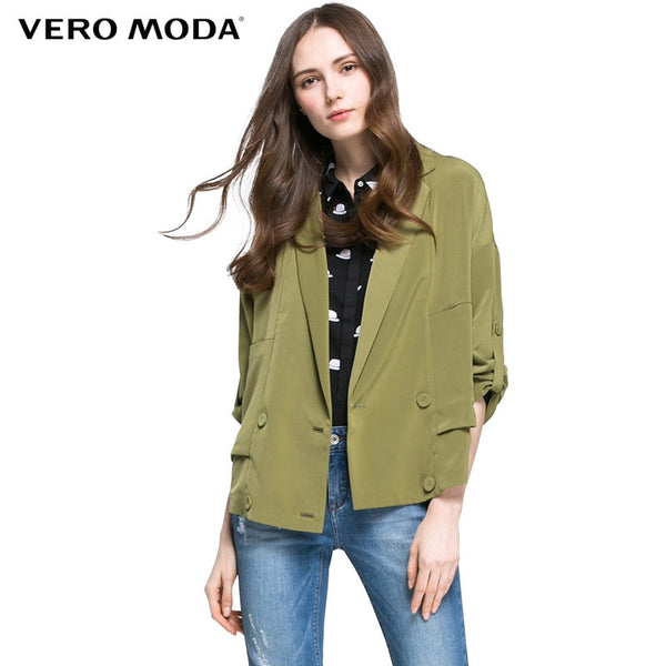 NEW Office lady style three quarter sleeves turn-down collar regular solid loose jacket coat