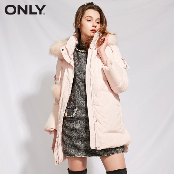 Women's Big Fur Collar Long Hooded Down Jacket