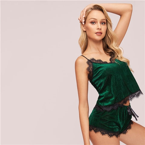 Green Contrast Lace Velvet Cami Sexy Night Top and Shorts