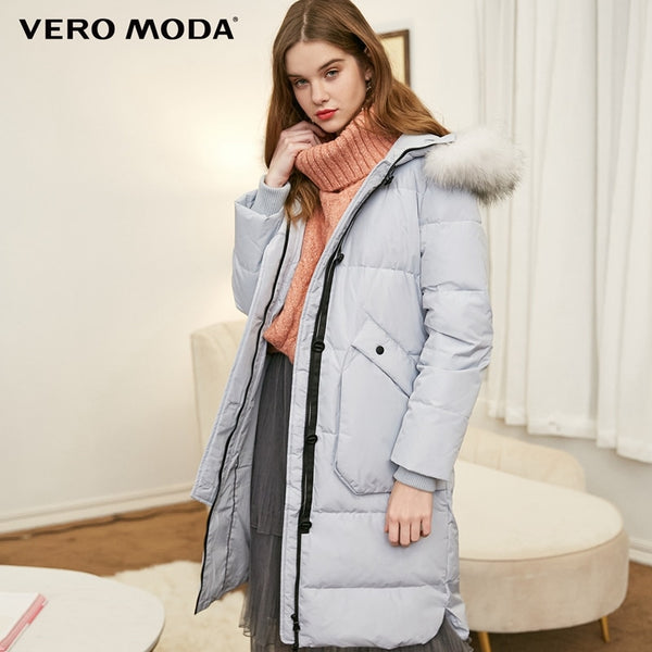 hooded detachable bristle collar long down jacket