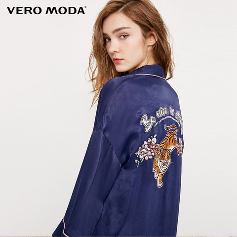 Embroidered Tiger Satin-like Medium Style Coat