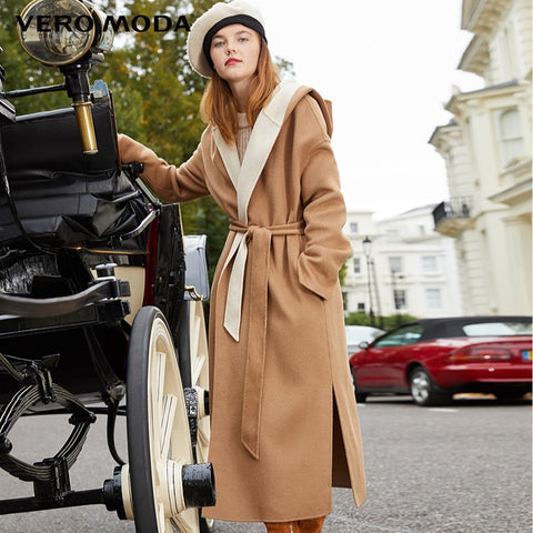 winter new simple loose 92.5% wool double-faced wool coat
