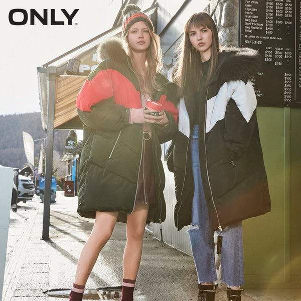 Long Woman Thick Duck Raccoon Fur Hooded Over knee Jacket