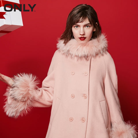 Women's Winter Raccoon Fur Silhouette Loose Fit Woolen Coat