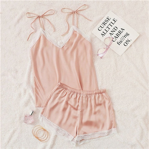 Pink Lace Trim Knot Satin Cami Top And Shorts Sexy Night