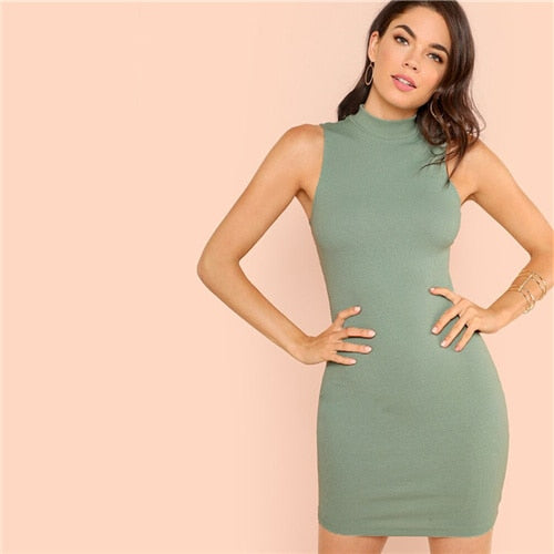Green Solid Stand Collar Dress