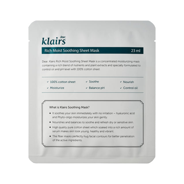 KLAIRS Rich Moist Soothing Mask