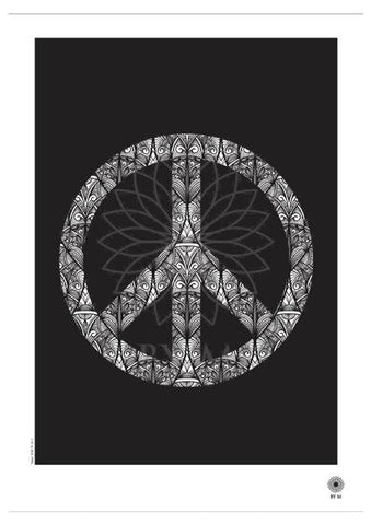 Motiv plakat - Peace sort/hvid 50*70 - BY M