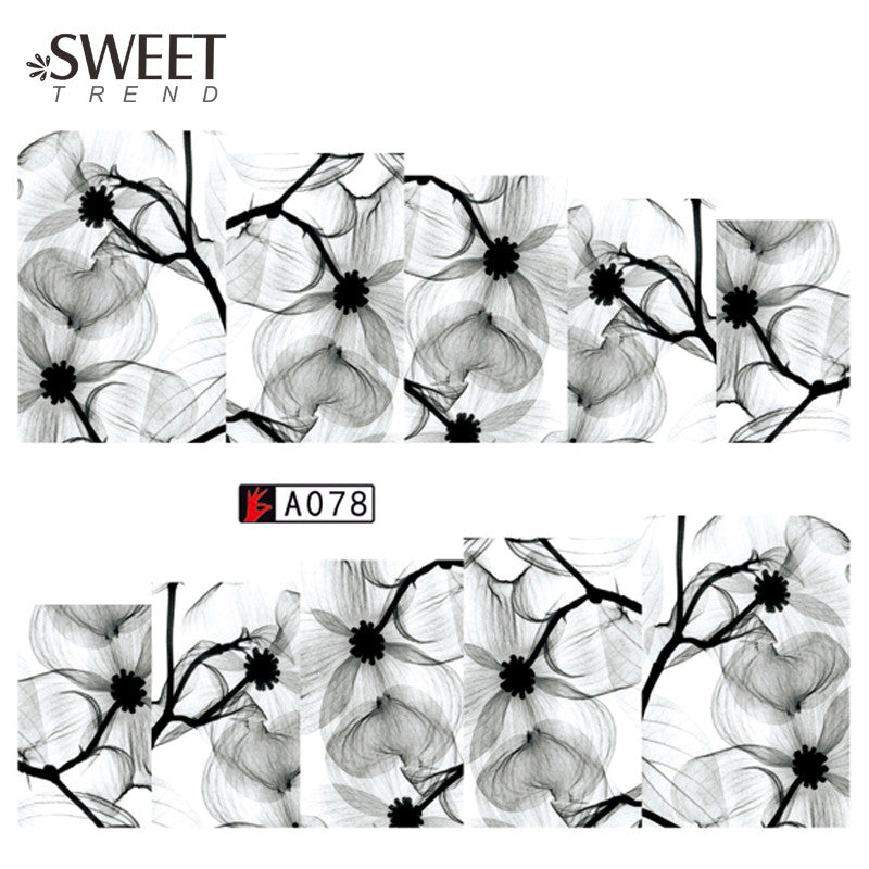 1 Sheet Chinese Ink Wash Painting Nail Art Water Transfer Stickers ...