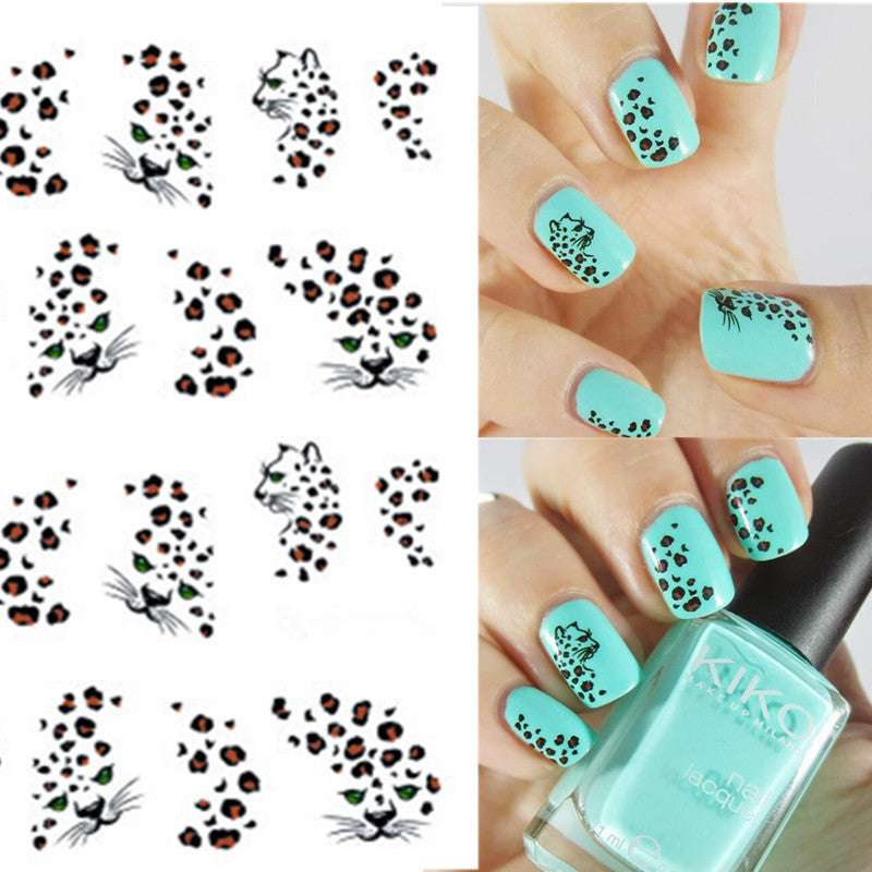 1 sheet Hot Leopard Nail Art Water Transfer Stickers Nails Wraps DIY ...