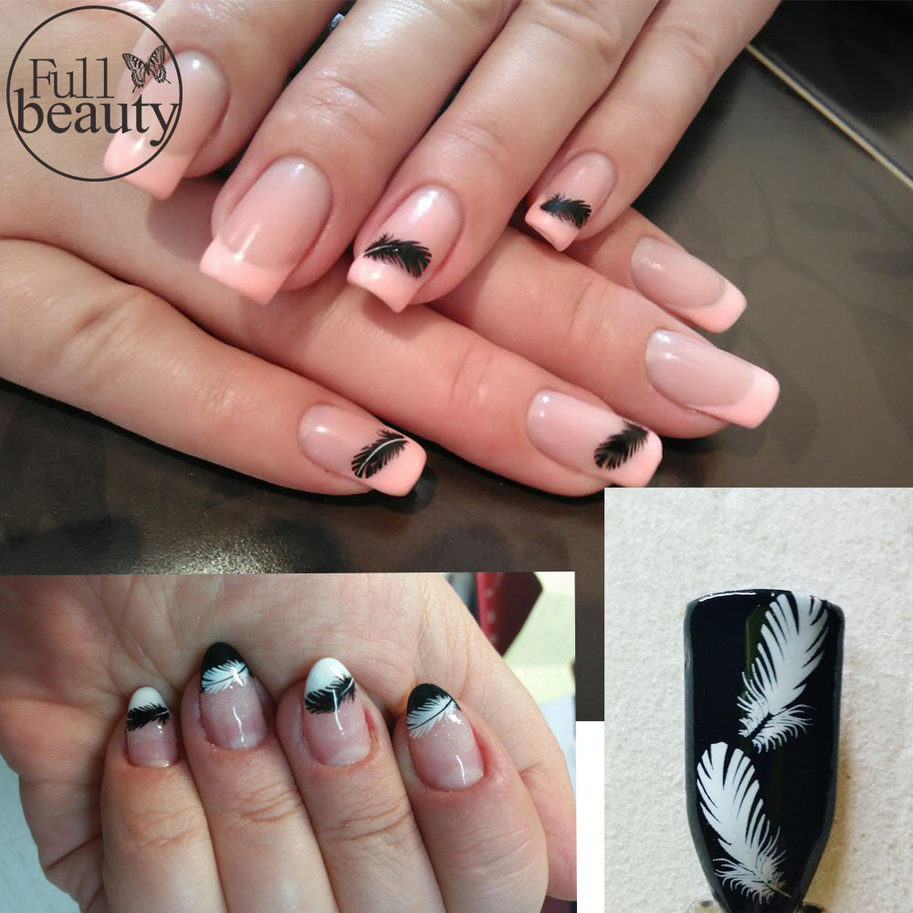 Nail Art Ideas nail art water decal : 1 sheets NEW 2017 Water Decals Nail Art Sexy Black White Feathers ...