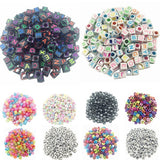 100pcs DIY Square Round Acrylic alphabet Spacer Loose Beads For Necklace Bracelet Letter Beads Charms bisuteria Jewelry Making