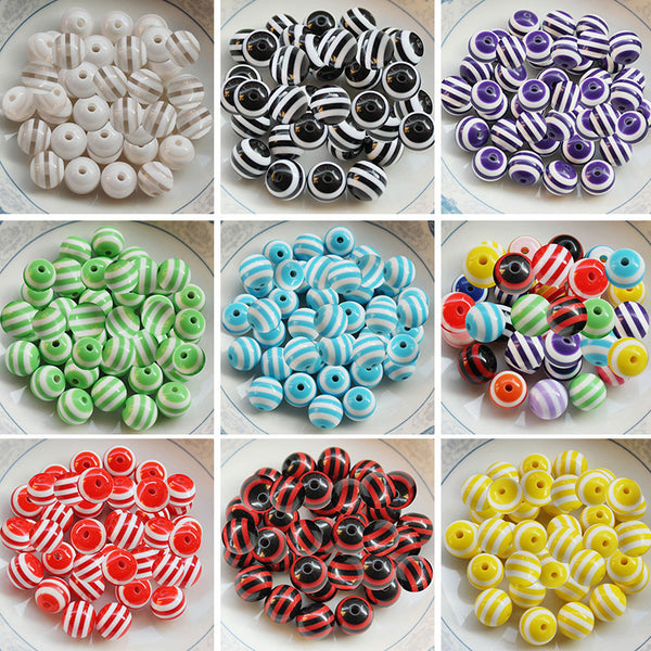 9 Colors 8mm 100 pcs DIY Bracelet Accessory Children Handcraft Round Shape Acrylic Stripe Beads Jewelry Findings