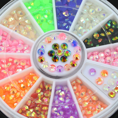 2016 Colorful 3D Fluorescent Acrylic Glitters Nail Art Salon Stickers Tips DIY Decal Decorations with Wheel 5VZM 7H3H 8LBN