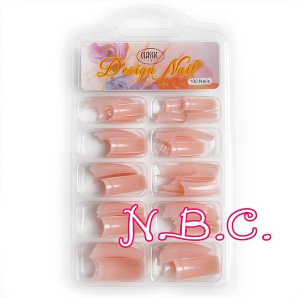 100 pc/box Nude pink Half Nail Tips South French Salon Acrylic Nail Art False Nail Tips For Manicure For Salon Tips Build