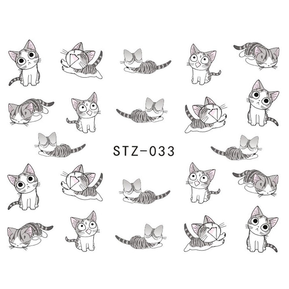 1 sheet New Water Transfer Nail Art Stickers Decal Cute Cats Black ...