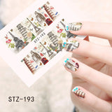 STZ 1Sheets Retro DIY Tower Stamp Designs Nail Art Full Tips Water Transfer Decals Nail Sticker Styling Tools STZ193-197