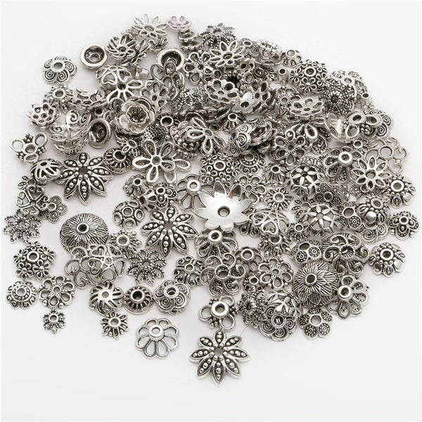 150pcs/lot Zinc Alloy Antique Silver plated color Bead Caps Fit Jewelry Findings Making End Caps 4-15mm