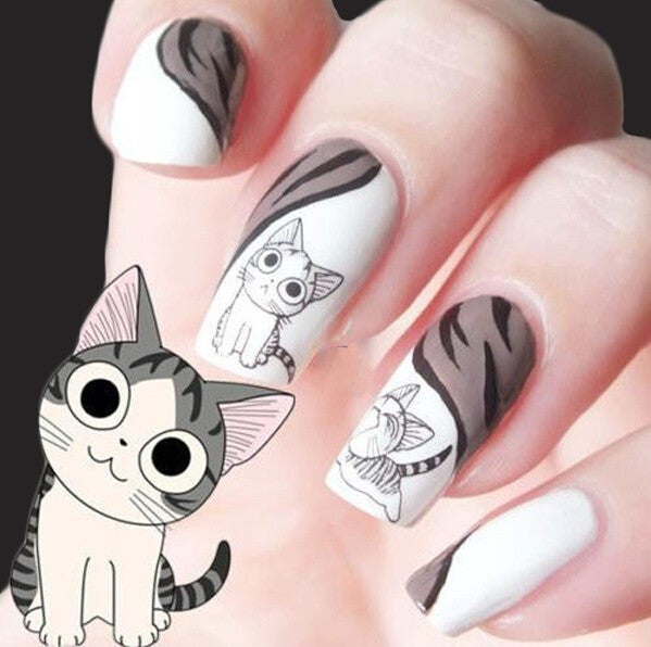 1 sheet new water transfer nail art stickers decal cute cats black 1 sheet new water transfer nail art stickers decal cute cats black white grey design decorative prinsesfo Gallery