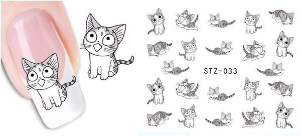 1 sheet New Water Transfer Nail Art Stickers Decal Cute Cats Black White Grey Design Decorative Foils Stamping Tools STZ-033