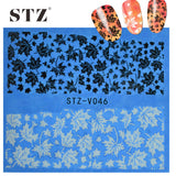 STZ 1sheets Black White DIY Maple Leaf Designs Nail Art Sticker Decor Polish Manicure Tools for Beauty Charm Nail Decals STZV046