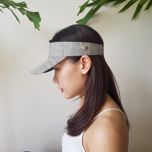 Raffia Visor + Face Shield (Gray) - Island Girl