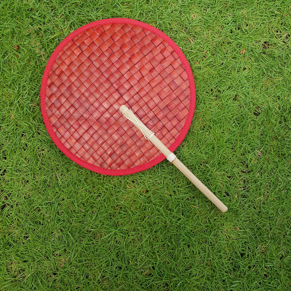 Round Pandan Fan (Red) - Island Girl