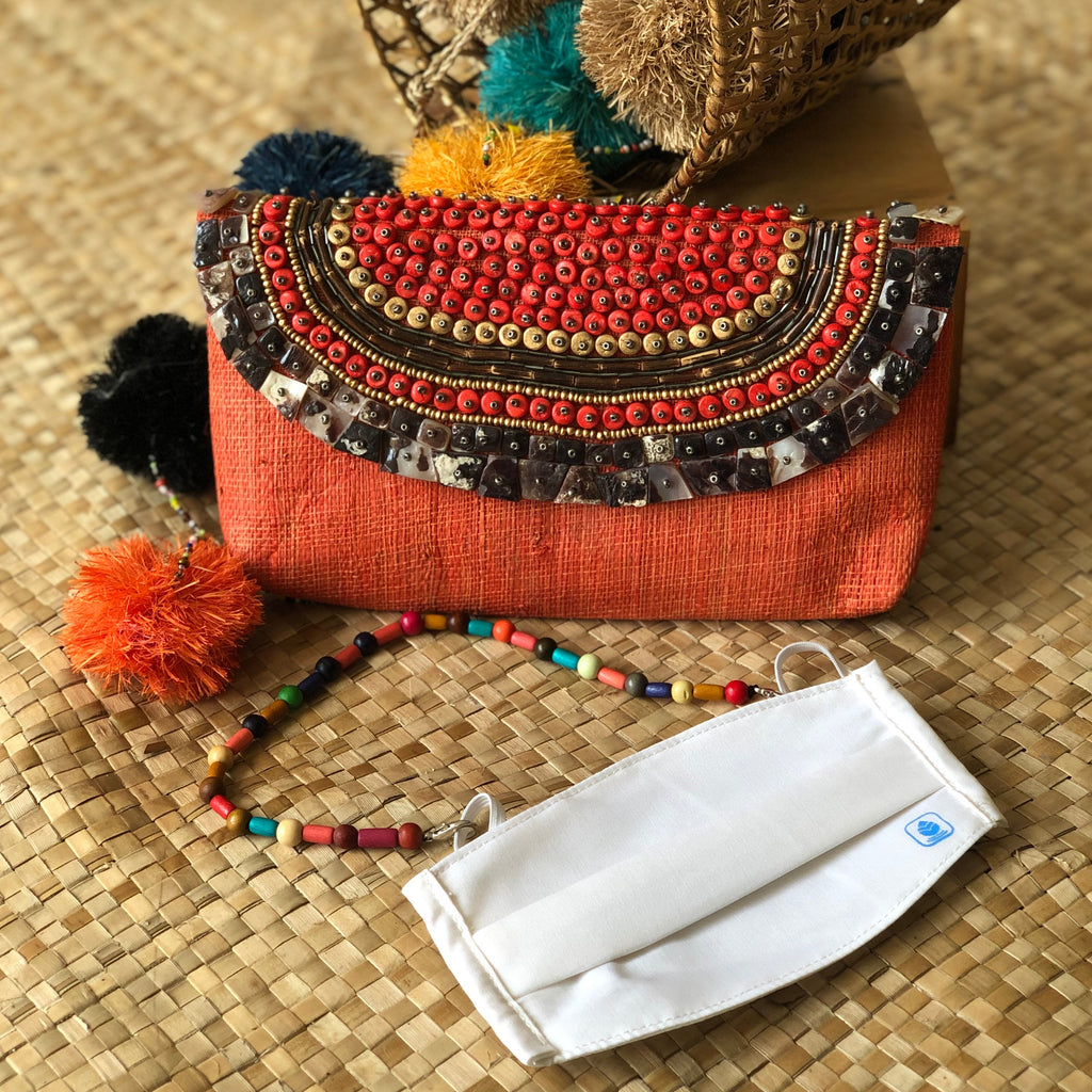 Trinidad Raffia Clutch -Mask Kit