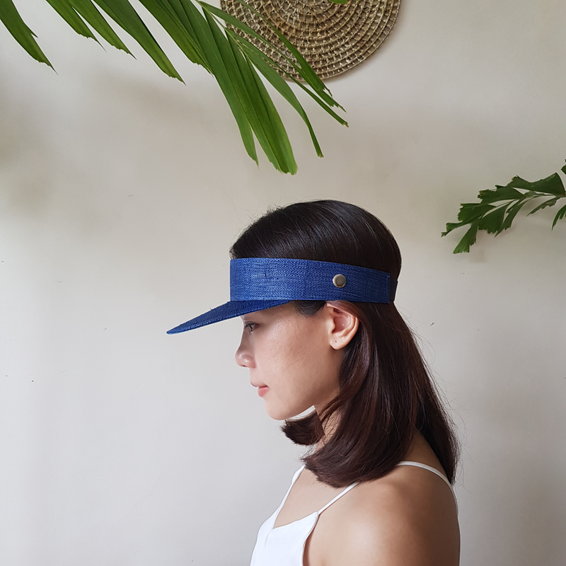 Raffia Visor + Face Shield (Blue)