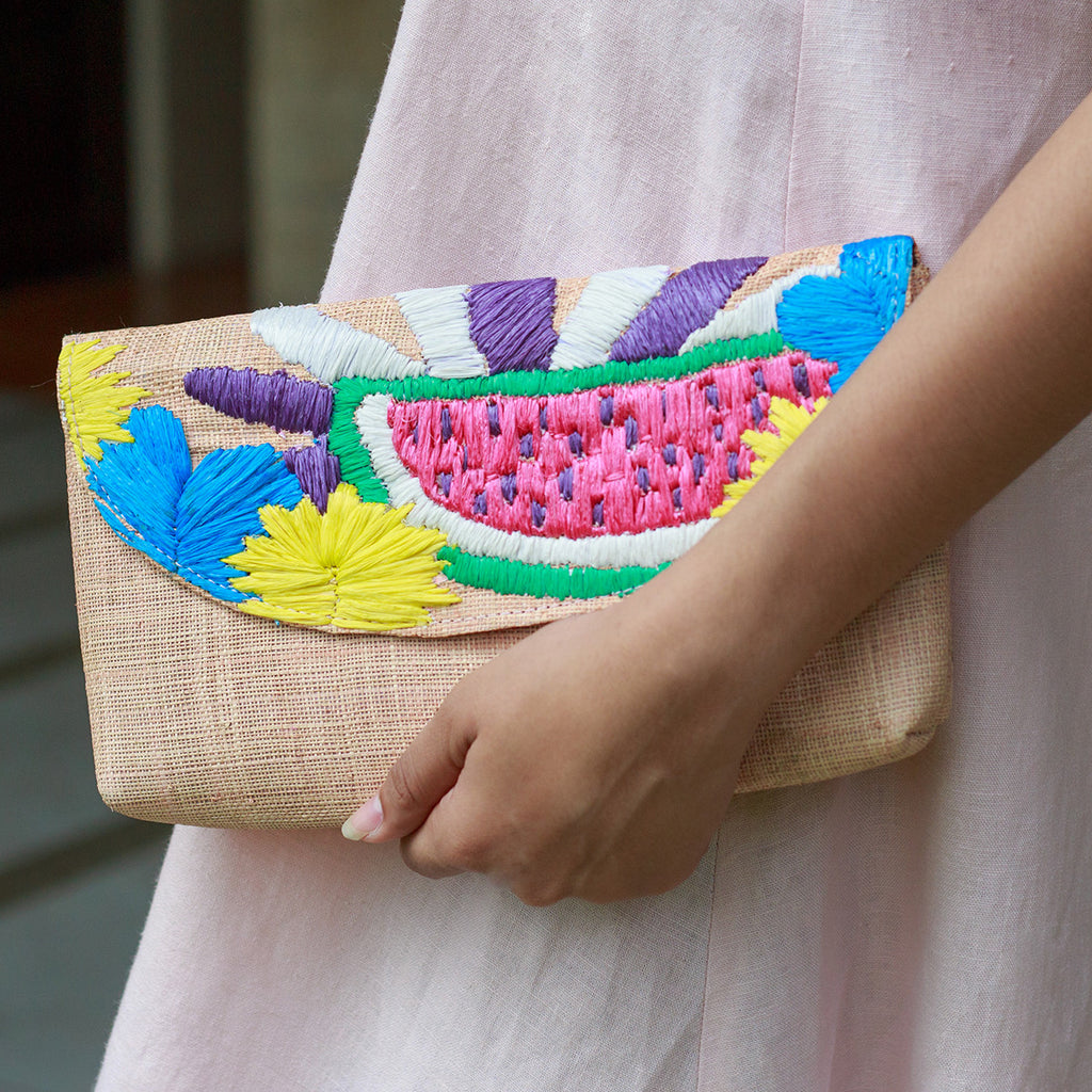 Andi Embroidered Envelope Clutch - Island Girl