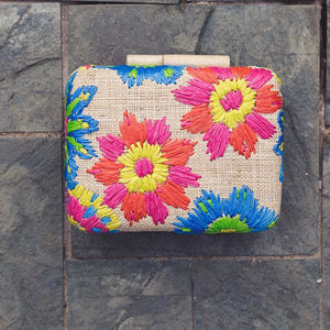 Embroidered Hard Clutch: Corey