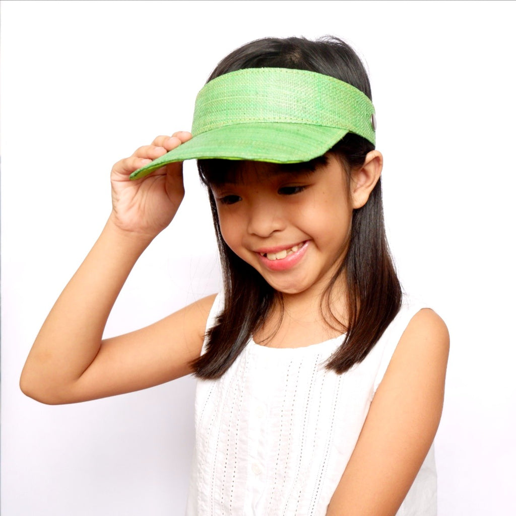 Kids Raffia Visor + Face Shield (Green)