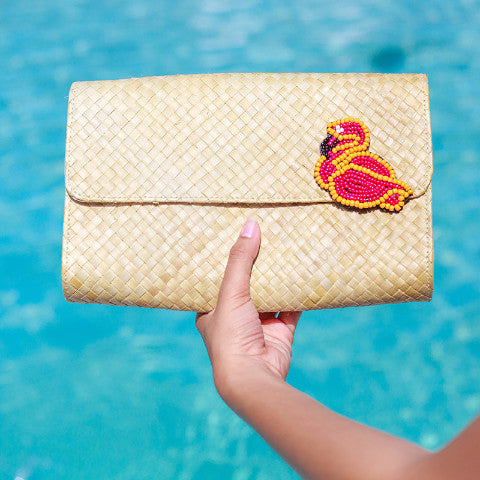 Applique Clutch Bag: Flamingo