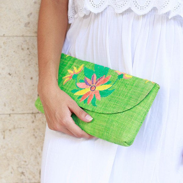 Embroidered Envelope Clutch: Harper
