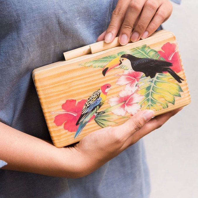Tropical Birds Wooden Clutch - Island Girl