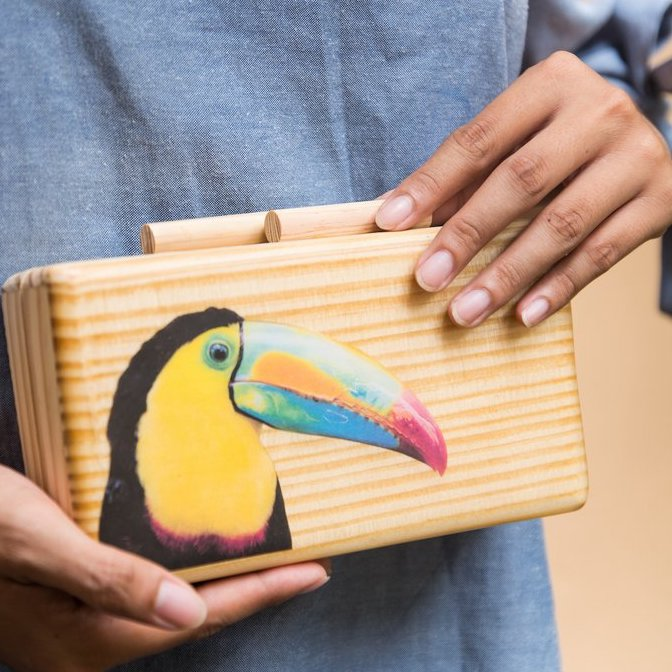 Toucan Wooden Clutch - Island Girl