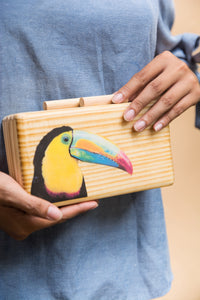 Toucan Wooden Clutch