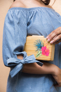Tropical Rainforest Wooden Clutch - Island Girl
