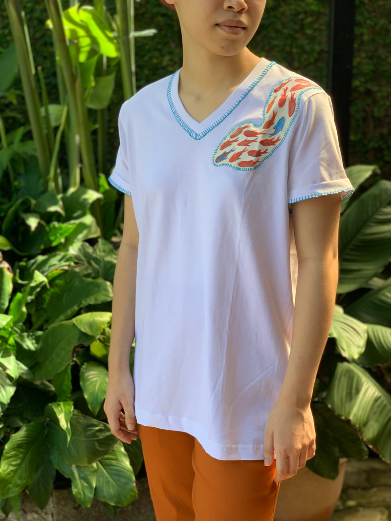 Hand-Painted Shirt (Fishes) - Island Girl