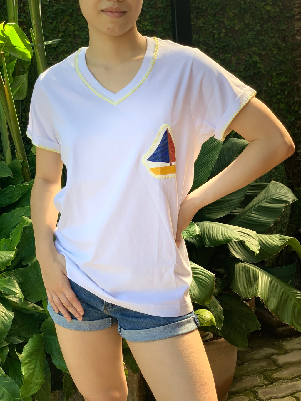 Hand-Painted Shirt (Sailboat) - Island Girl