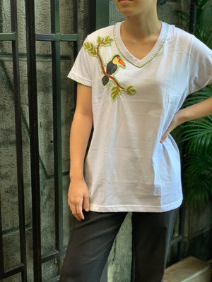 Hand-Painted Shirt (Toucan) - Island Girl