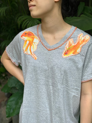 Hand-Painted Shirt (Goldfish) - Island Girl