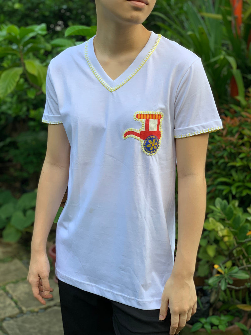 Hand-Painted Shirt (Tartanilla) - Island Girl