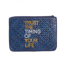 "Load image into Gallery viewer, ""TRUST THE TIMING OF YOUR LIFE"" Clutch - Island Girl"