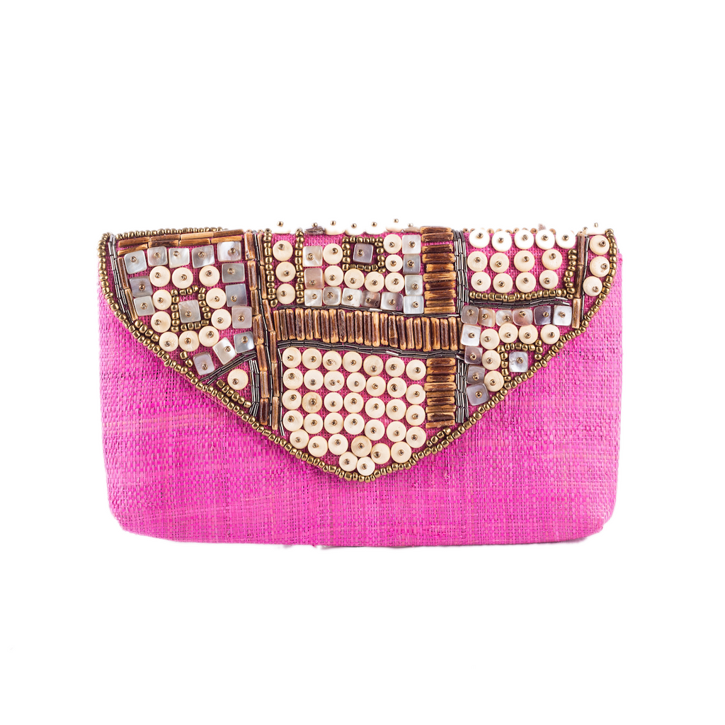SANTIAGO Raffia Date Night Clutch