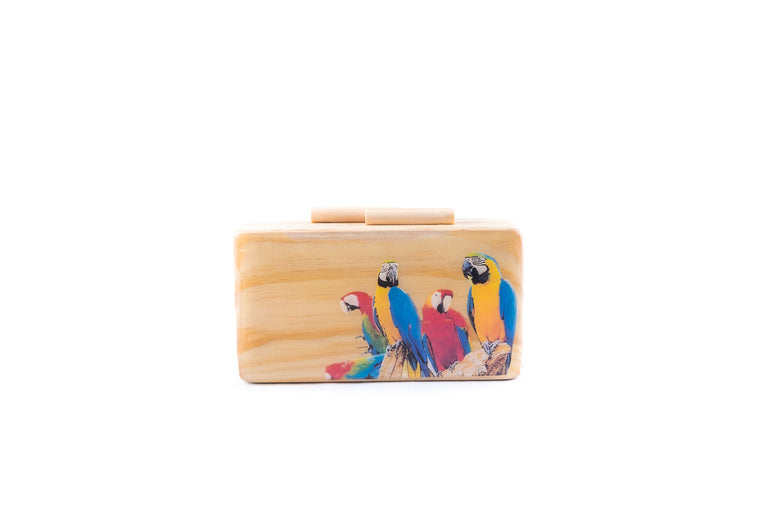 Parrot Life Wooden Clutch