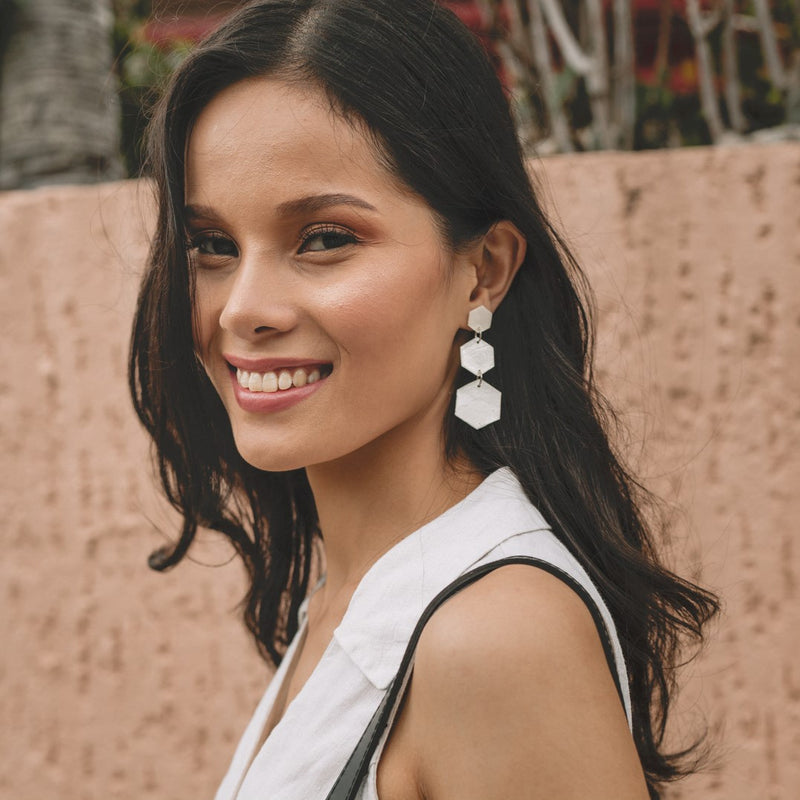 Priscilla Capiz Earrings in Natural - Island Girl