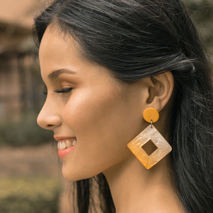 Bern Capiz Earrings in Yellow - Island Girl