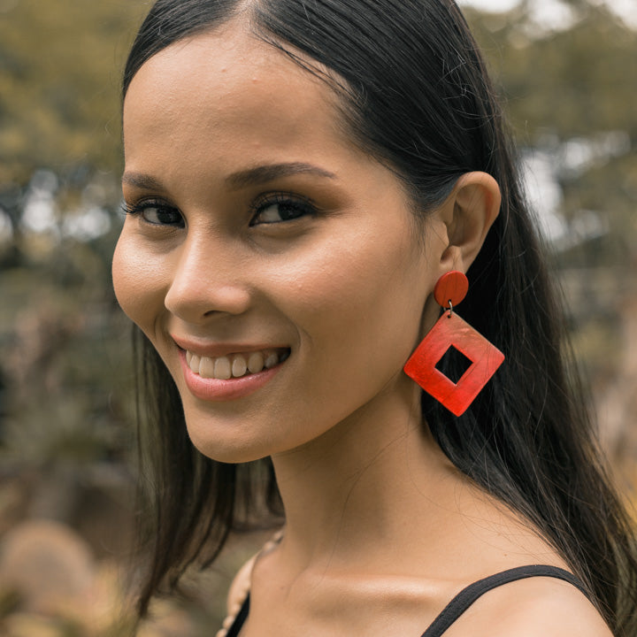 Bern Capiz Earrings in Red - Island Girl