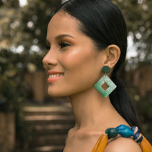 Load image into Gallery viewer, Bern Capiz Earrings in Olive Green - Island Girl